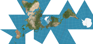 Dymaxion Map projection, with 15 degree graticule.