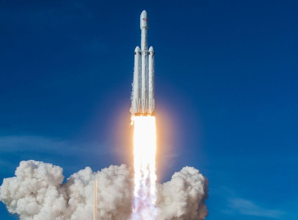 The Falcon Heavy rocket with two boosters.