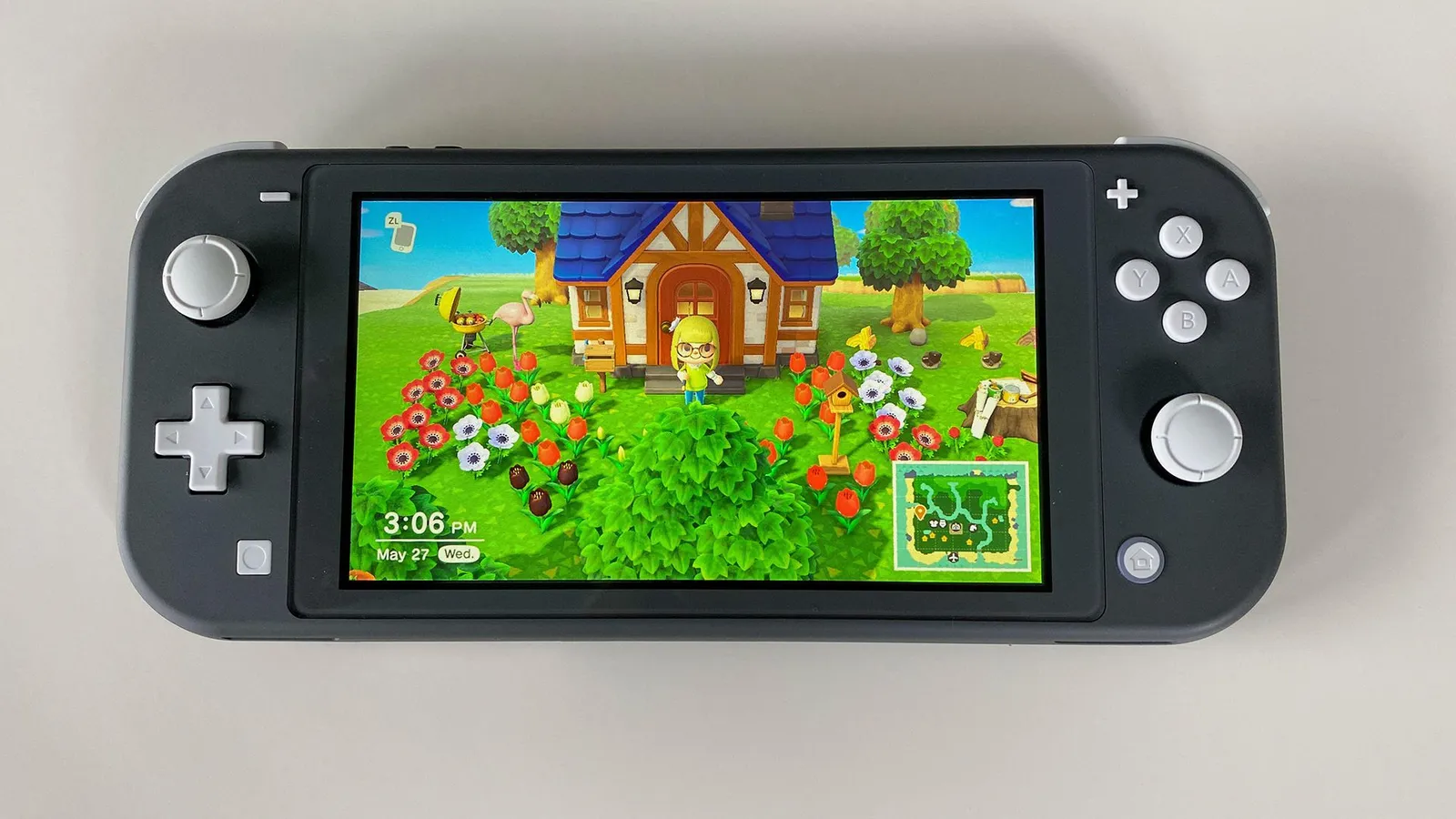 Image of Animal Crossing on the Nintendo Switch Lite.