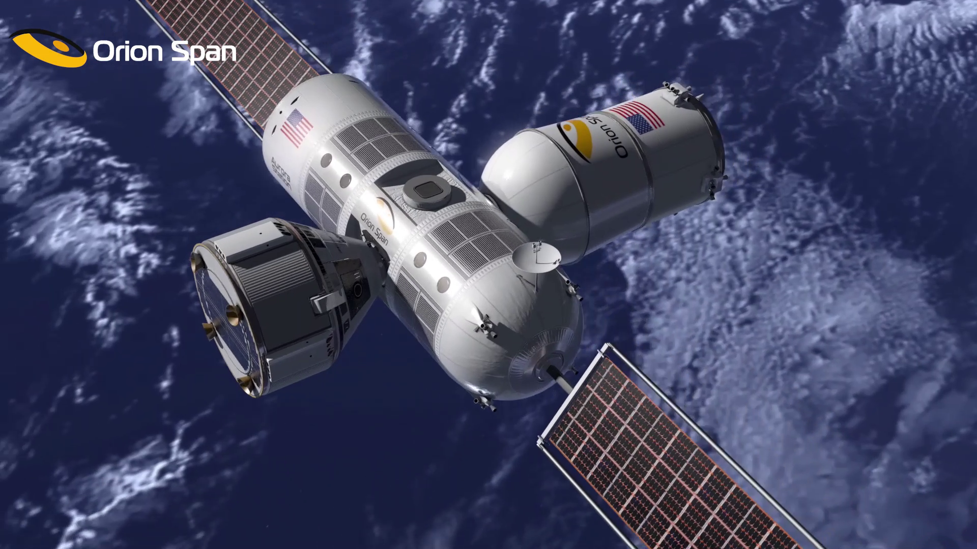 Conceptual view of Aurora Station (center), with crew transportation vehicle (left) and notional cargo vehicle (right).