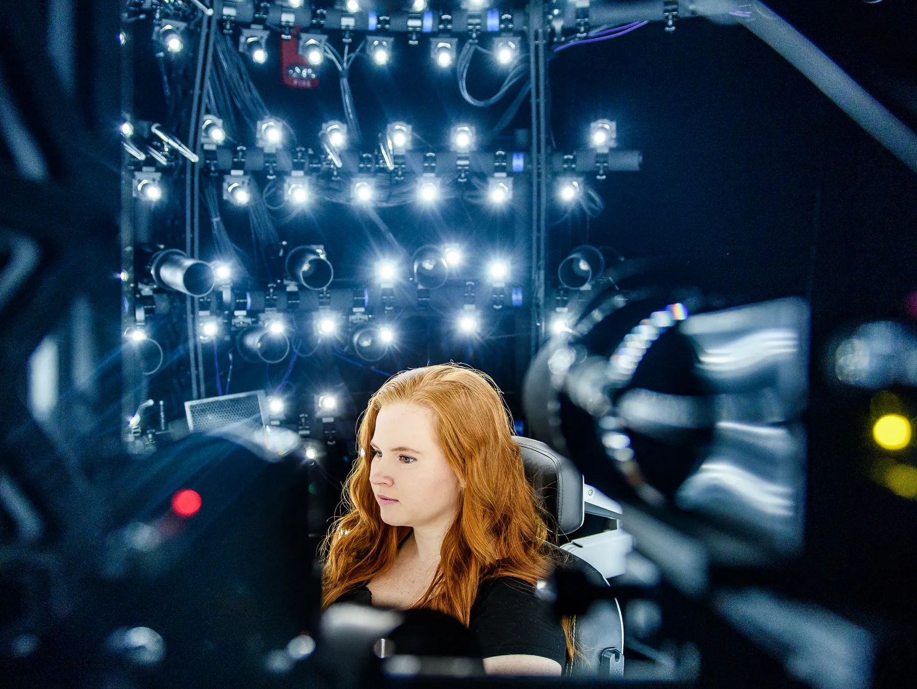 A person in one of the Codec Avatars capture studios.