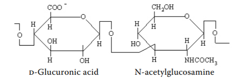 Chemical structure of hyaluronic acid from Necas et al. Veterinarni Medicina (2008)