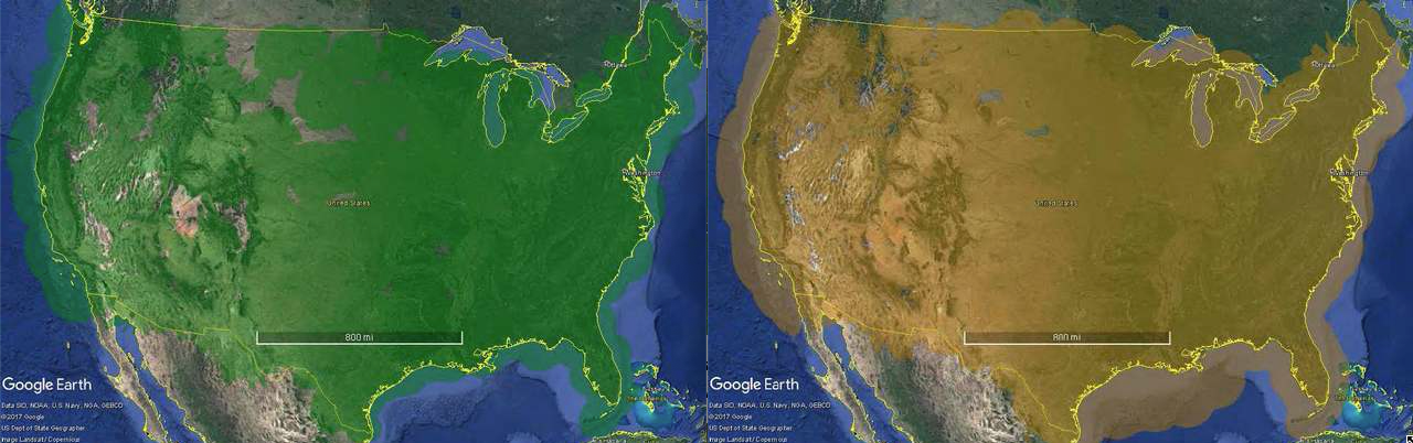 Left to right: continental U.S. with secondary surveillance at 5,000 AGL; continental U.S. with ADS-B coverage at 5,000 AGL.