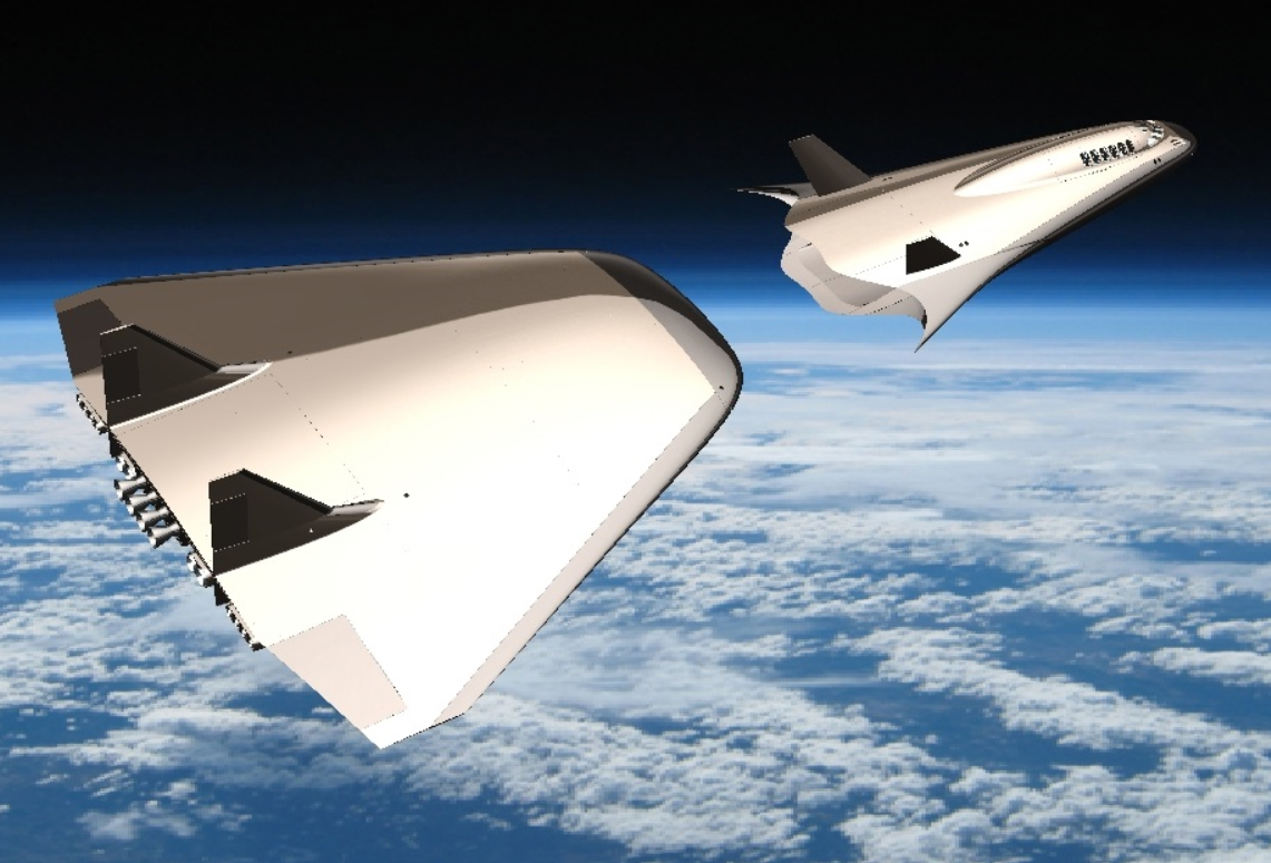 CGI render of Exodus Space's Astroclipper separating from it's first stage delta wing.