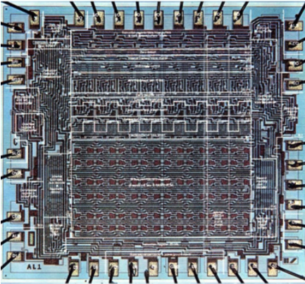 Four Phase Systems, Inc. AL-1 8-bit computer processor slice. Design commenced in October 1968. Final working devices March 1969. Lee Boysel