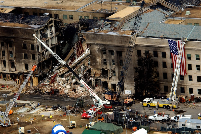 The Pentagon in the wake of the 9/11 attacks.