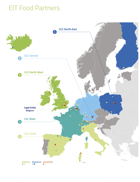 Locations of EIT Food co-location centres across Europe.