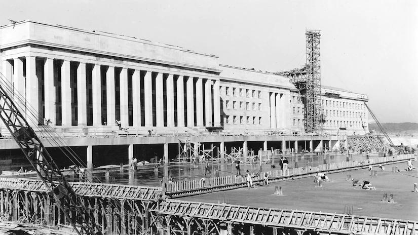 The Pentagon under construction.