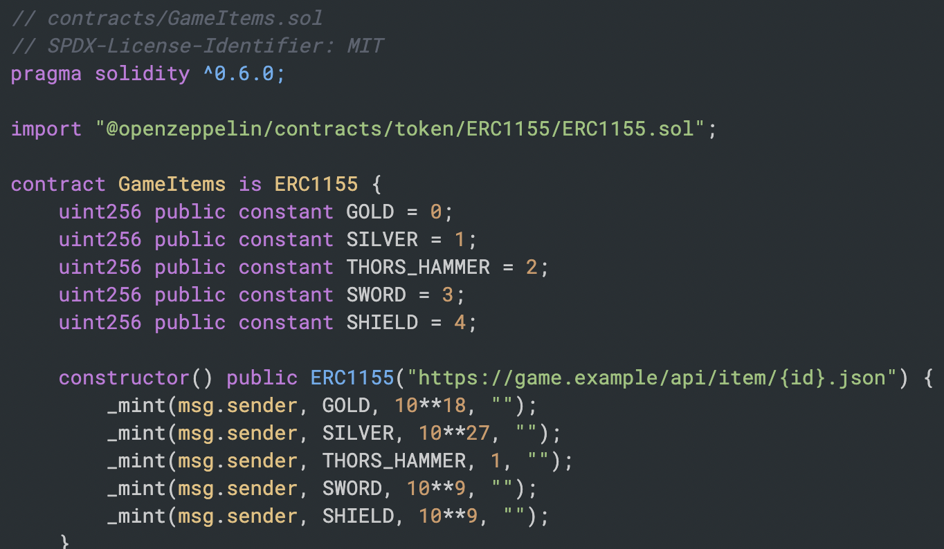 Example of an ERC-1155 token contract