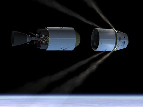 Draco thruster engines firing to separate the Dragon spacecraft from the Falcon 9 second stage.