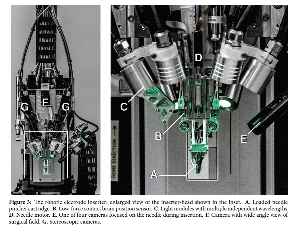 Neurosurgical robot designed to insert electrodes of Neuralink's brain-machine interface device into precise brain regions.