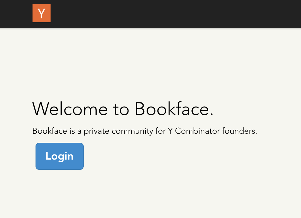 Bookface home page