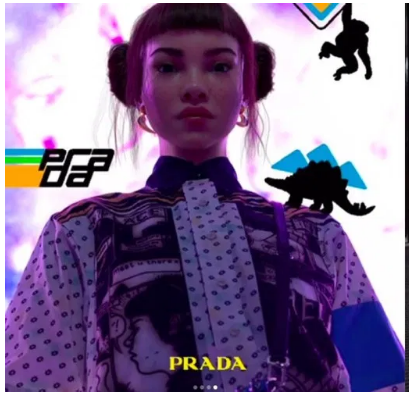 Lil Miquela in a Prada advertisement.