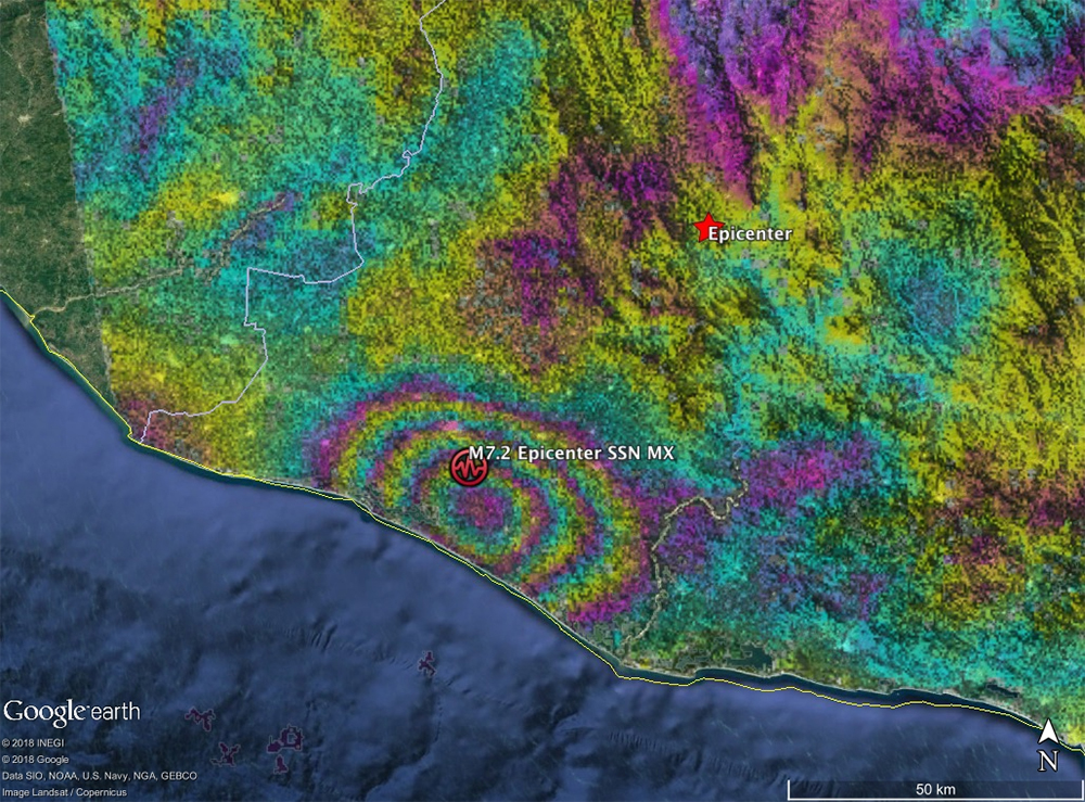 Interferogram data showing earthquake fault slip on a subduction thrust fault causing up to 40 cm of uplift of the ground surface.