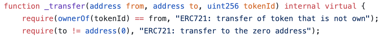 ERC-721 transfer codes and owner0f operations