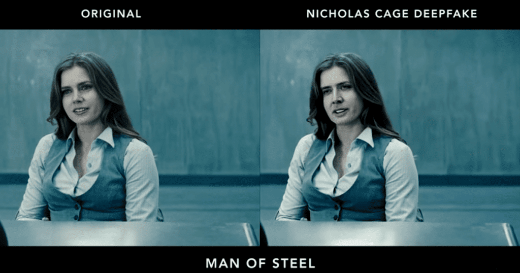 Deepfake in which Nicolas Cage is placed in a film he did not partake in.