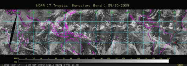Example of imagery produced by the National Oceanic and Atmospheric Administration (NOAA)'s low Earth orbit satellites.
