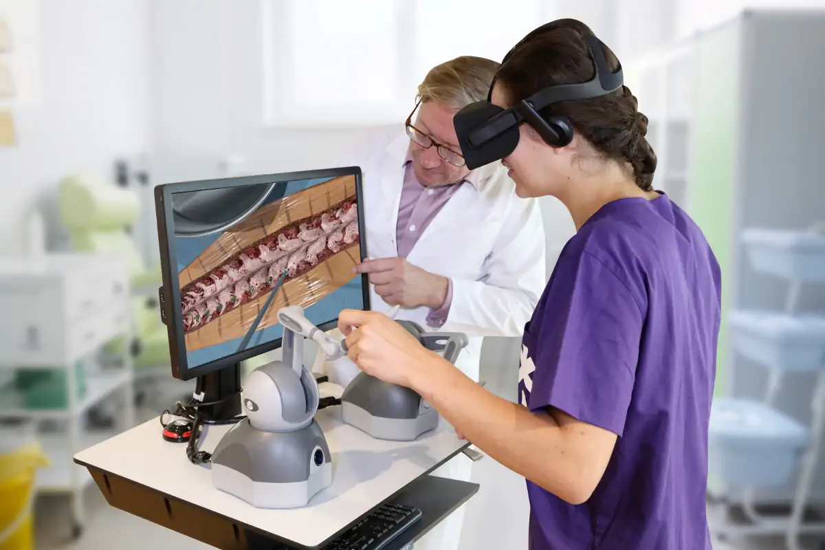 A student using virtual reality training for dental hygiene practice.