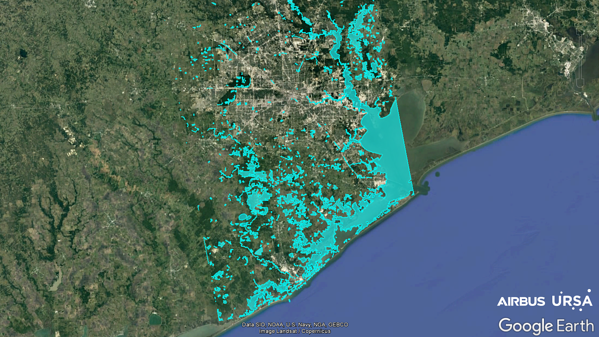 eFlooded areas (market in blue) following Hurrican Harvey