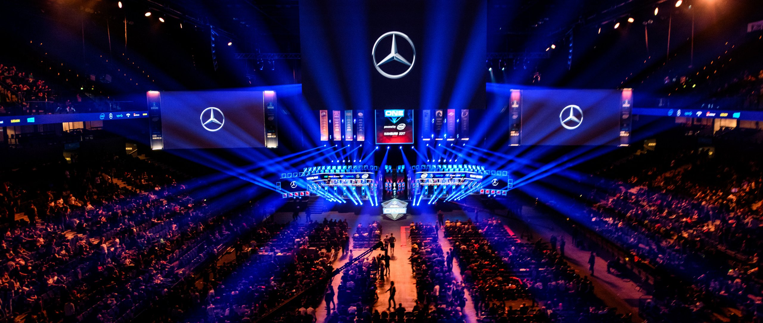 eSports competition held in an arena full of fans.